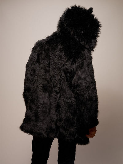 Black Wolf Galaxy Faux Fur Coat - SpiritHoods
