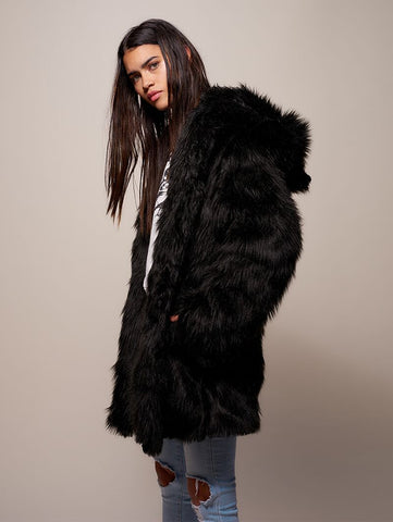 Black Wolf Galaxy Faux Fur Coat