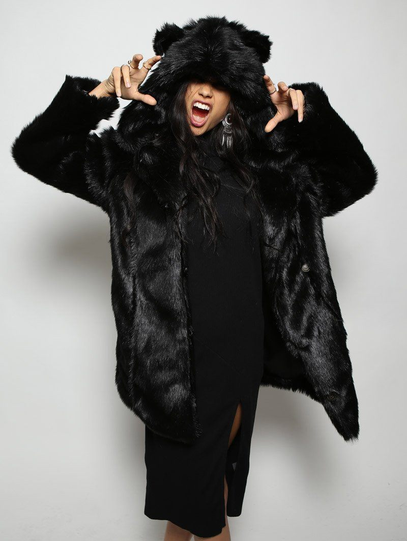 Classic Black Panther Faux Fur Coat - SpiritHoods