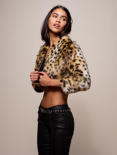 Hoodless Cheetah Faux Fur Crop - SpiritHoods