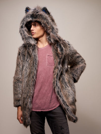 Limited Edition Grey Wolf Faux Fur Coat - SpiritHoods