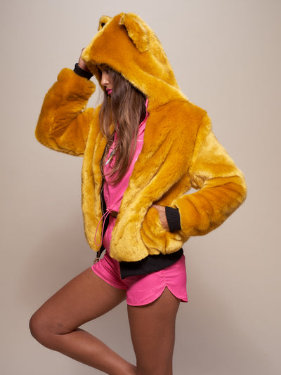 Classic Golden Wolf Luxe Faux Fur Bomber - SpiritHoods