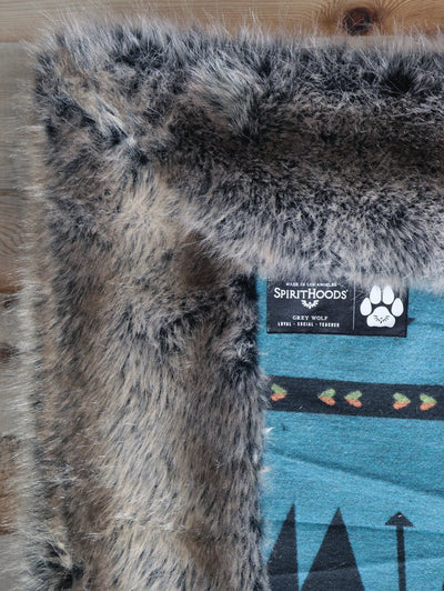 Grey Wolf Faux Fur Large Blanket - SpiritHoods