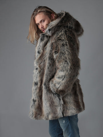 Hooded Grey Wolf Faux Fur Coat