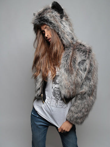 Grey Wolf Crop Jacket SpiritHood