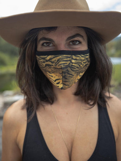 Tiger Copper-Threaded Face Mask - SpiritHoods