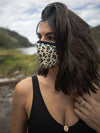 Blue Spotted Leopard Copper-Threaded Face Mask - SpiritHoods