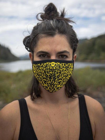 Neon Yellow Cheetah Copper-Threaded Face Mask - SpiritHoods