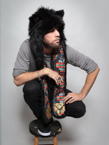 Mens Black Wolf Warrior - Black Wolf Navajo - HB3 - Faux Fur SpiritHood - Animal Hat - Tribal Liner - Wolf