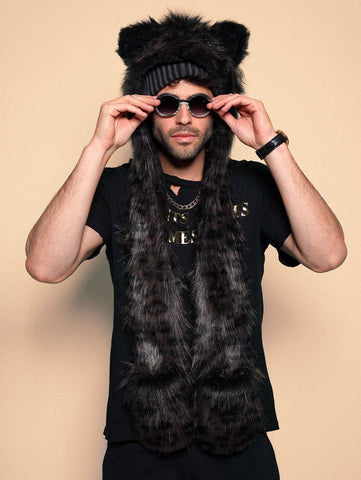 male model wearing black panther FAUX FUR SpiritHood Animal Hat