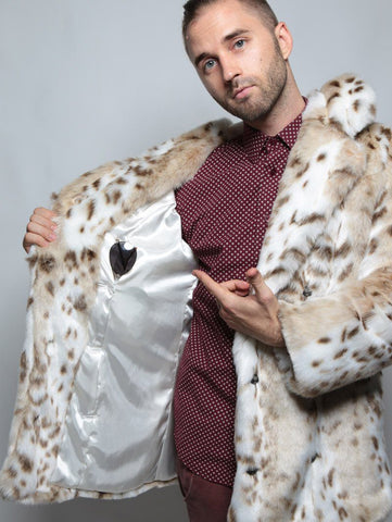 Siberian Snow Leopard Faux Fur Coat