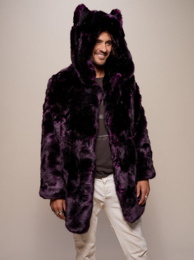 Classic Midnight Wolf Luxe Faux Fur Coat - SpiritHoods
