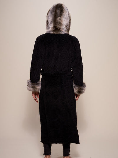 Hooded Grey Wolf Faux Fur Robe - SpiritHoods
