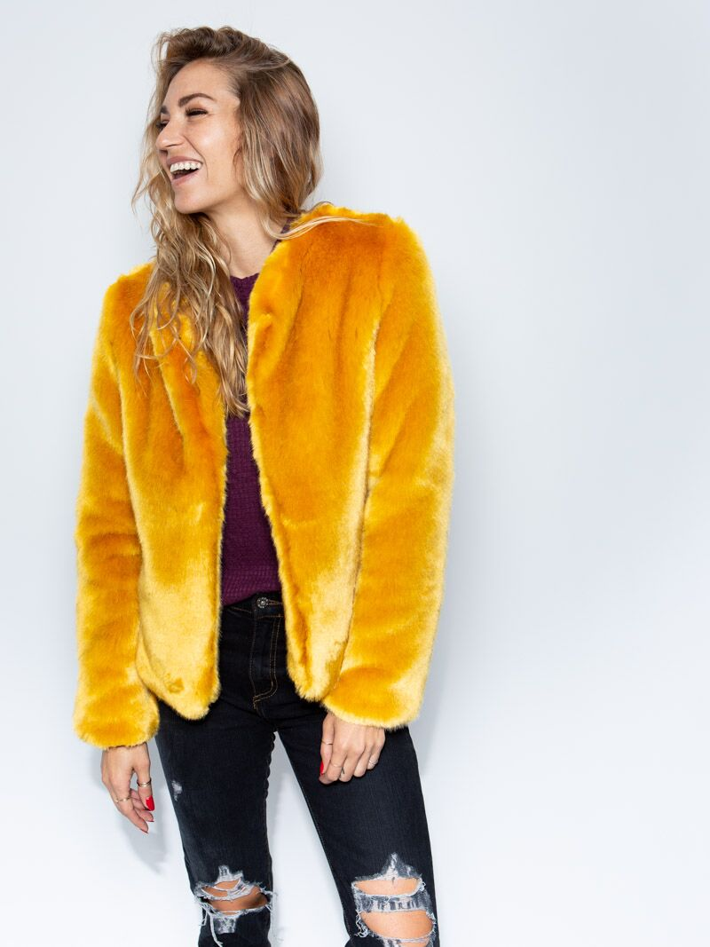 SpiritHood Golden Wolf Faux Fur Bomber