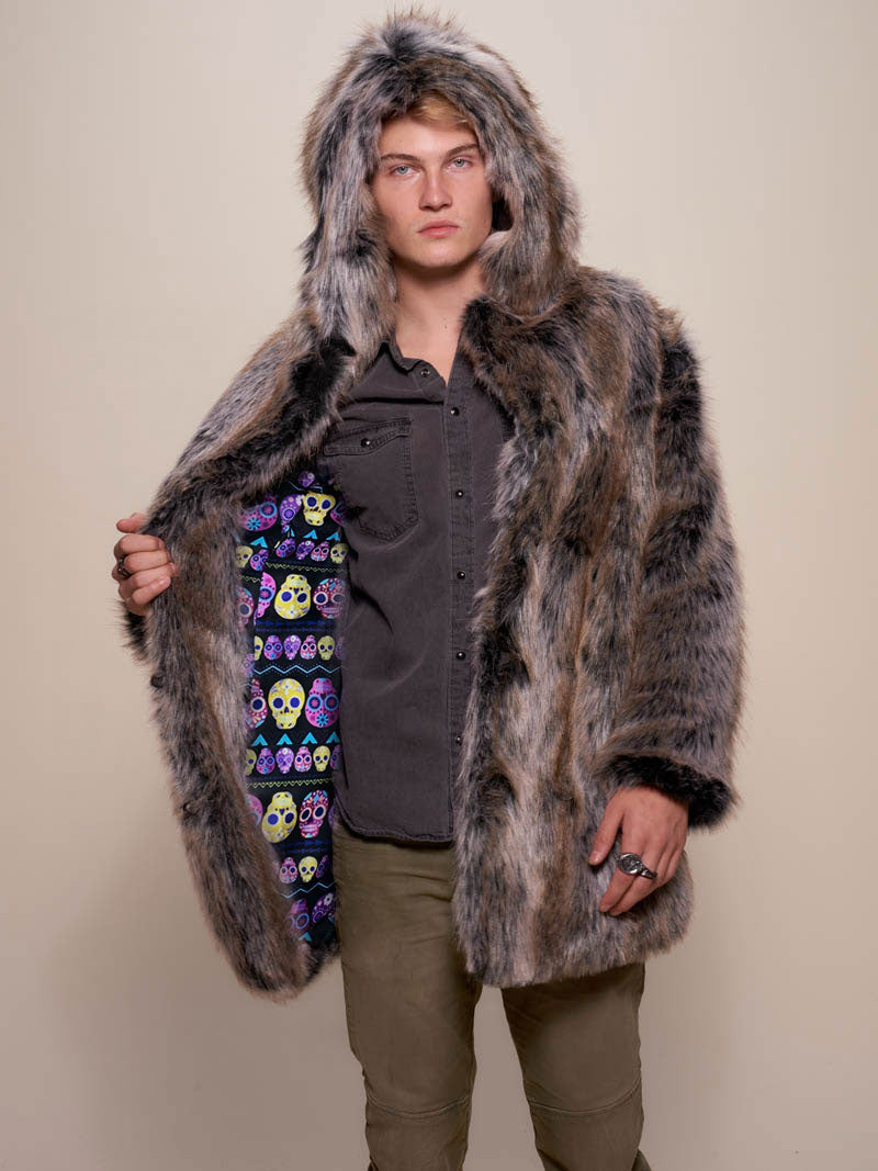 Hooded Grey Wolf Dia De Los Muertos CE Faux Fur Coat
