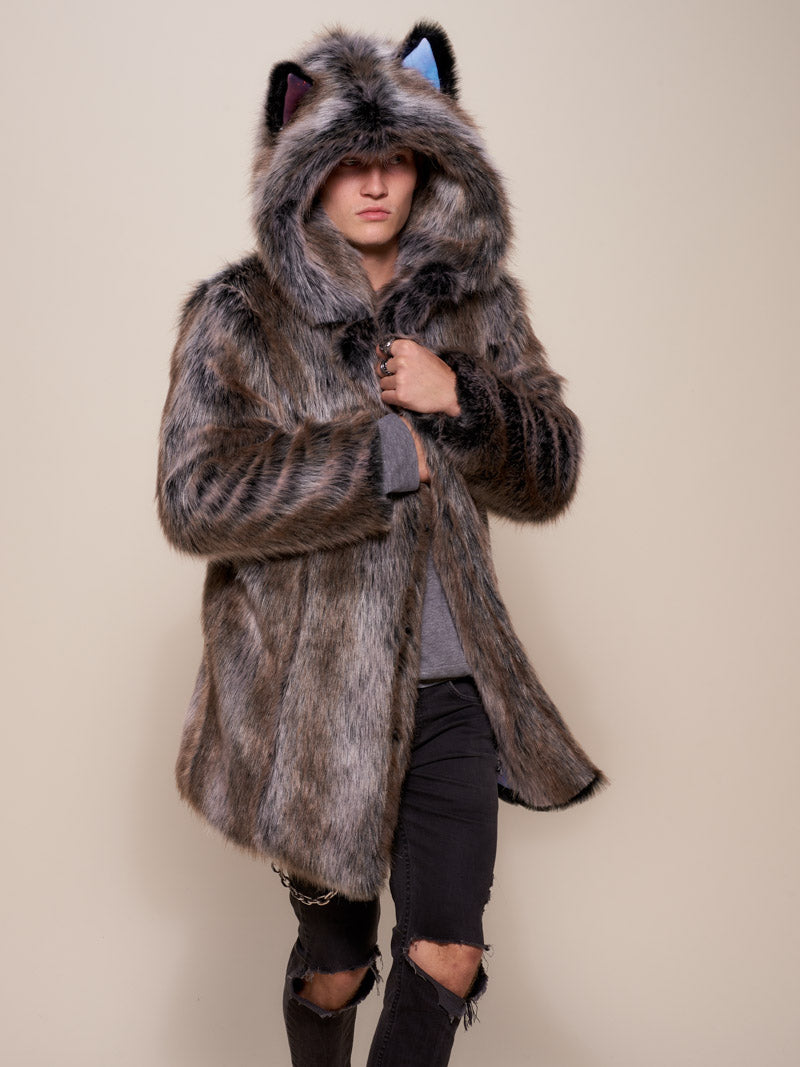 Classic Grey Wolf Galaxy Collector Faux Fur Coat