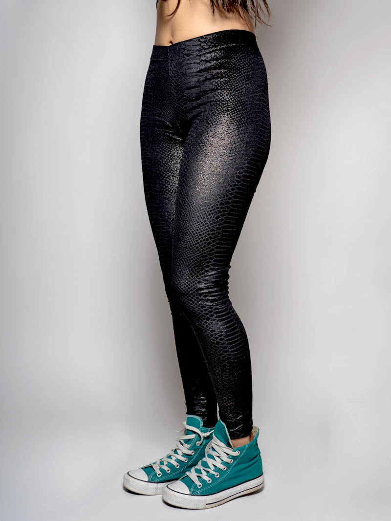Black Snakeskin Velvet SpiritHood Leggings