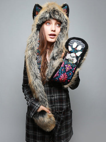 Red Wolf Dia De Los Muertos Collector SpiritHood