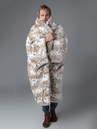 Siberian Snow Leopard Faux Fur Throw - SpiritHoods