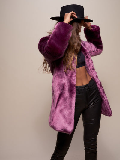 Lavender Wolf Luxe V-Neck Faux Fur Coat - SpiritHoods