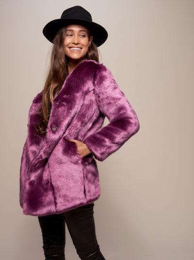 Lavender Wolf V-Neck Luxe Faux Fur Coat - SpiritHoods