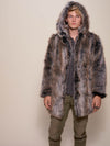 Hooded Grey Wolf Faux Fur Coat - SpiritHoods