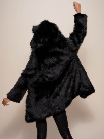 Collector Edition Black Wolf Faux Fur Coat - SpiritHoods