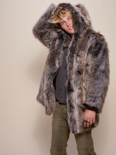 Hooded Grey Wolf Dia De Los Muertos CE Faux Fur Coat - SpiritHoods