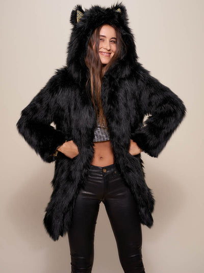 Collector Black Wolf Faux Fur SpiritHoods Coat - SpiritHoods