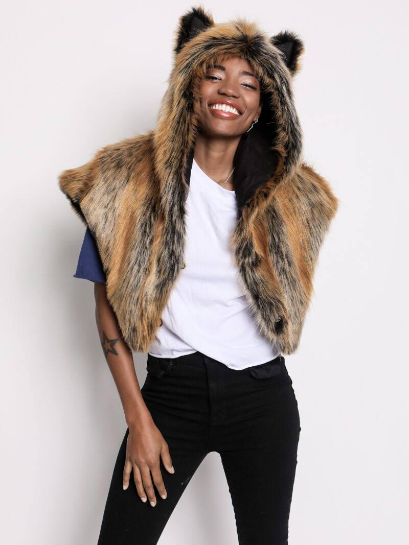 Red Wolf Faux Fur SpiritHoods Shawl