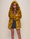Hooded Neon Yellow Cheetah Faux Fur Coat - SpiritHoods
