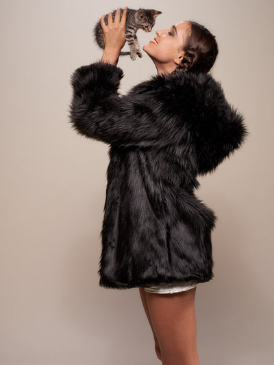 Hooded Black Wolf Faux Fur Coat - SpiritHoods