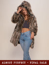 *Almost Purfect* Hooded Grey Wolf Faux Fur Coat - SpiritHoods