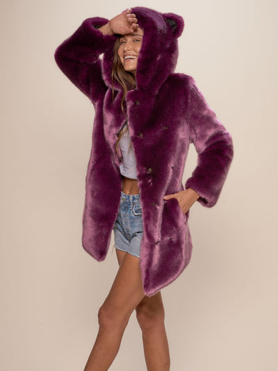 Classic Lavender Wolf Luxe Faux Fur Coat - SpiritHoods