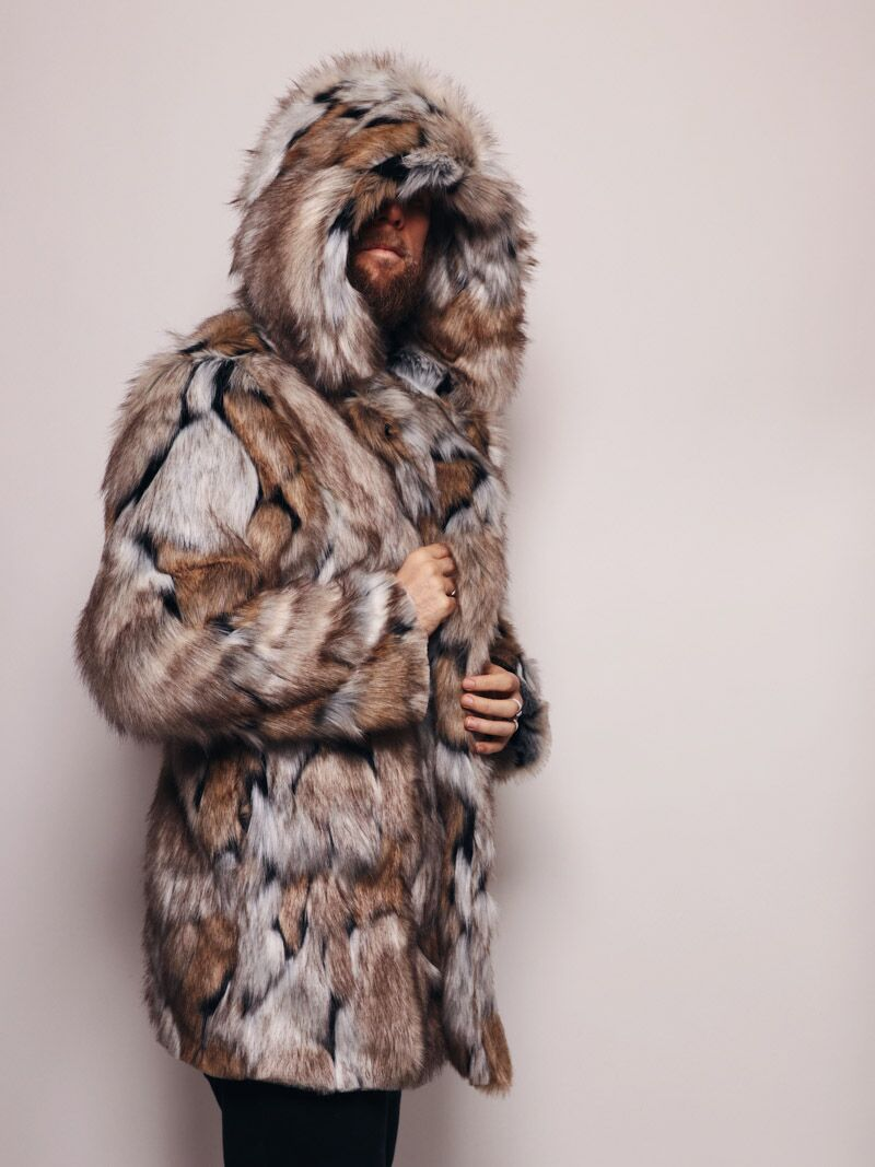 Hooded Wolverine Faux Fur Coat - SpiritHoods