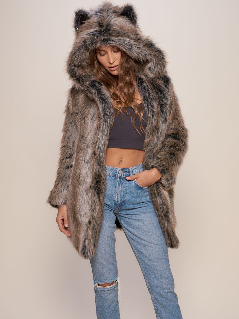 Classic Grey Wolf Faux Fur Coat - SpiritHoods