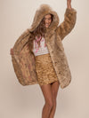 Hooded African Golden Cat Luxe Faux Fur Coat - SpiritHoods