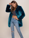Royal Wolf V-Neck Luxe Faux Fur Coat - SpiritHoods