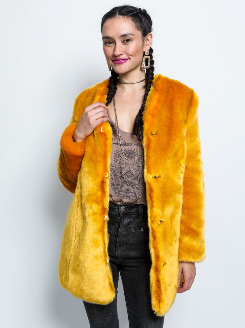 Golden Wolf V-Neck Luxe Faux Fur Coat - SpiritHoods