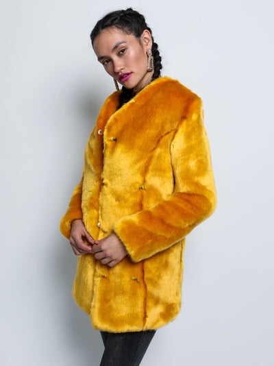 Golden Wolf Luxe V-Neck Faux Fur SpiritHoods Coat - SpiritHoods