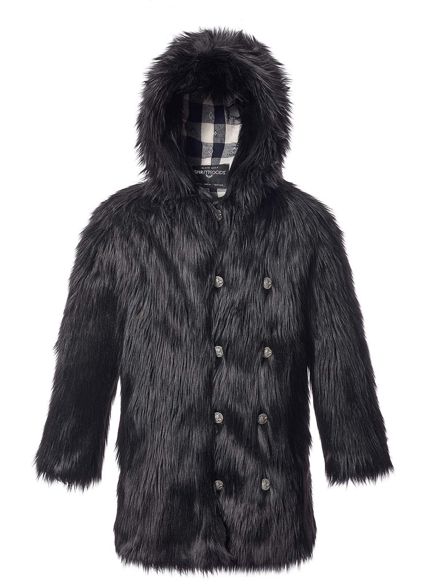 Hooded Black Wolf 2.0 Faux Fur Coat - SpiritHoods