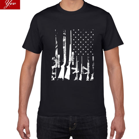 American Flag Machine Guns T Shirt Men