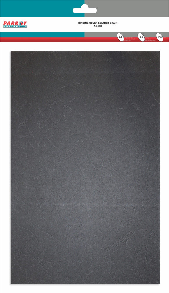 Binding Cover Leather Grain A 4 Black Pack 25 150gsm