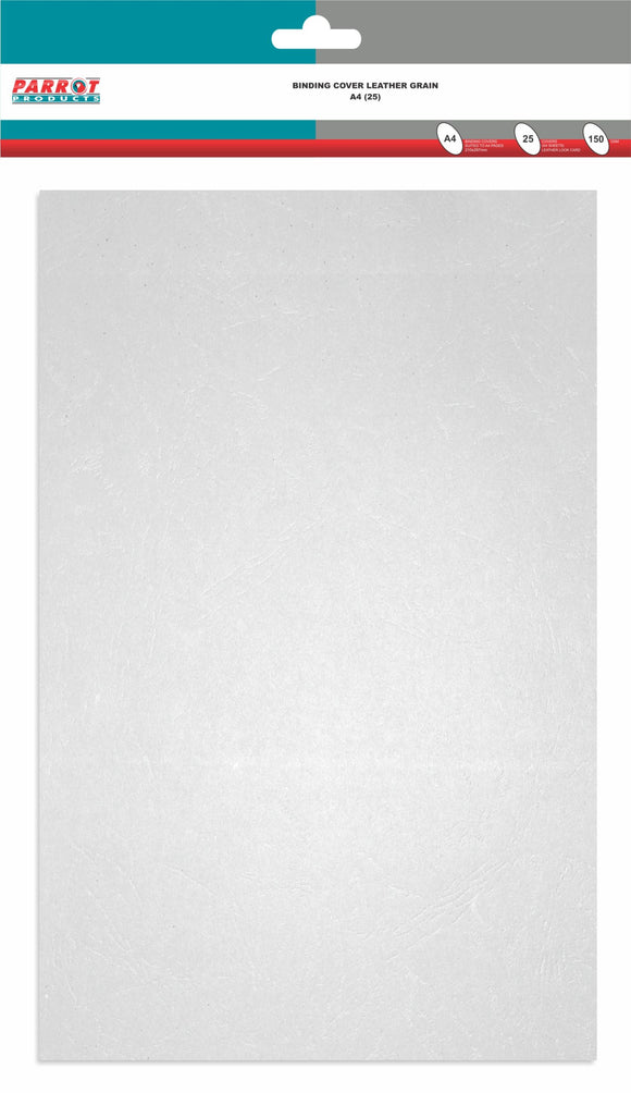 Binding Cover Leather Grain A 4 White Pack 25 150gsm