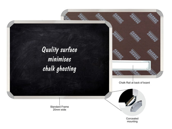 Black Chalk Board Non Magnetic Aluminium Frame 1800x1200mm