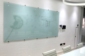 Glass Whiteboard Non Magnetic Printed 2400 x 1200mm