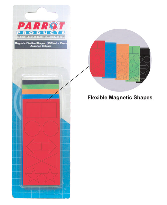 Magnetic Flexible Shapes 15mm 50 Pack Assorted