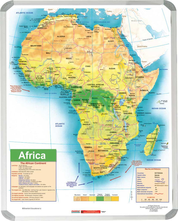 Map Africa General Educational 1500x 1200mm