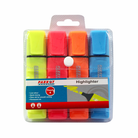 Marker Highlighter Pouch 4 Yellow Pink Blue Orange