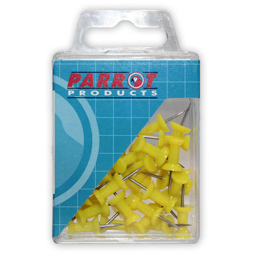 Push Pins Carded Pack 30 Yellow